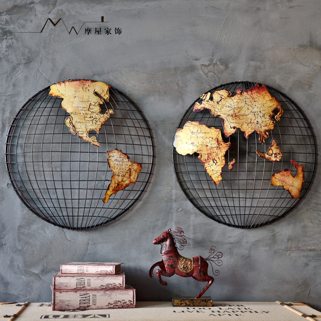 Handmade Metal Model World Map Bar Decoration A Set Southern Hemisphere  Northern Hemisphere Free Shipping