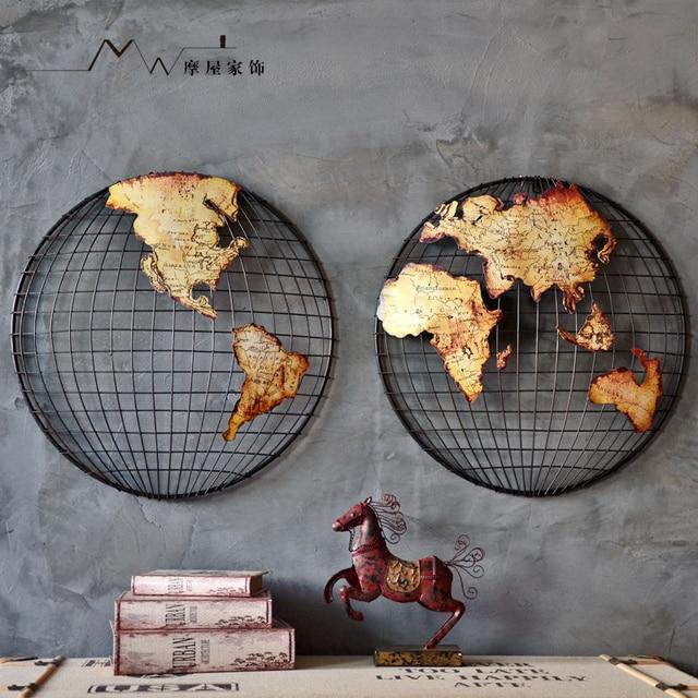 Hecho a mano metal modelo mundial Mapas bar decoración un conjunto Hemisferio Sur Hemisferio Norte envío libre