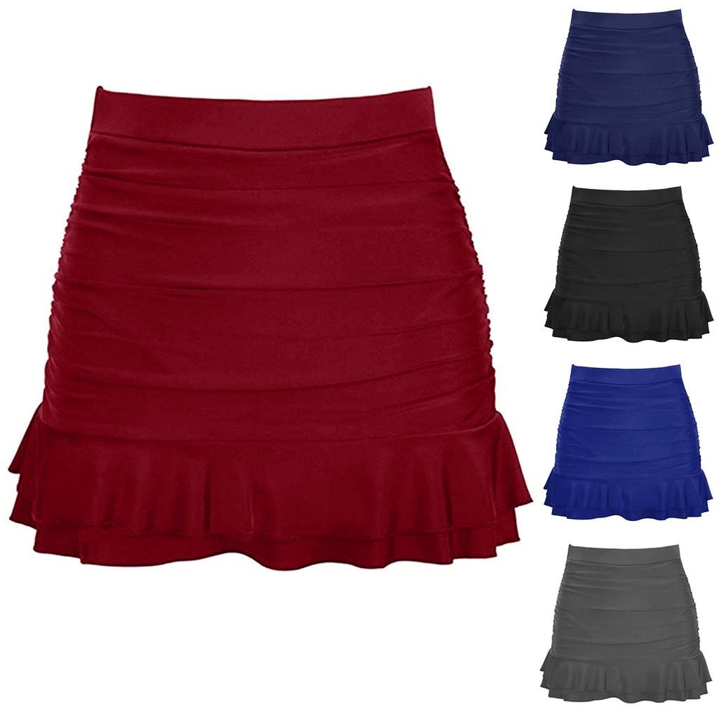Women Skirted Bikini Bottom High Waisted Shirred Bottom Ruffles Swimwear Women's Pure Swimming Dresses Half-length Skirts A30327