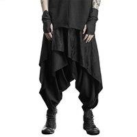 Dark Black Skirt Trousers Harlan Men's Alternative Personality Hair Stylist Clothing Men Pants Men Clothing 2018 Ropa De Hombre