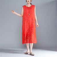 BUYKUD 2018 Summer Women Floral Embroidered Sleeveless Red Dress Round Neck Elegant Lady Loose Midi Dresses With Lining
