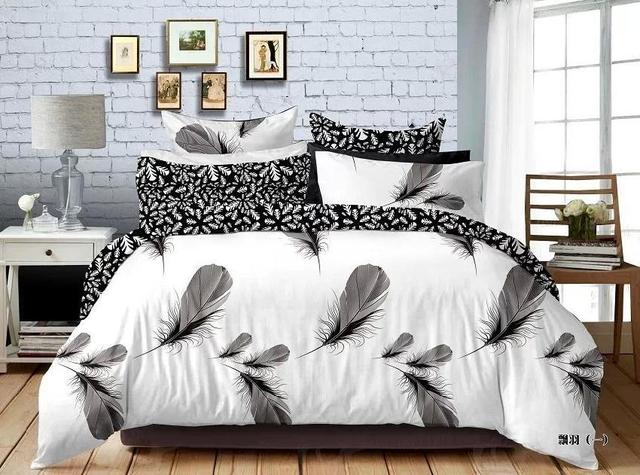 3D Black and white feather bedding comforter sets queen