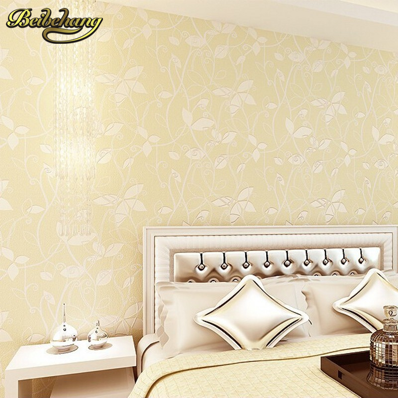 цена на beibehang papel de parede 3d Wallpaper Roll flower floral Non Woven flocking wallpaper for bedroom living room home decoration