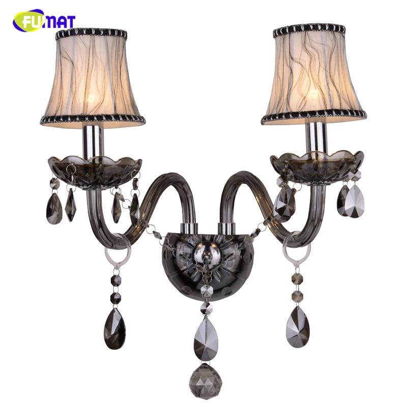 FUMAT Brief Crystal Wall Lamp For Living Room Bed Room LED Fabric Shade Smoky Gray K9 Crystal Lights Hotel Aisle Wall Lights