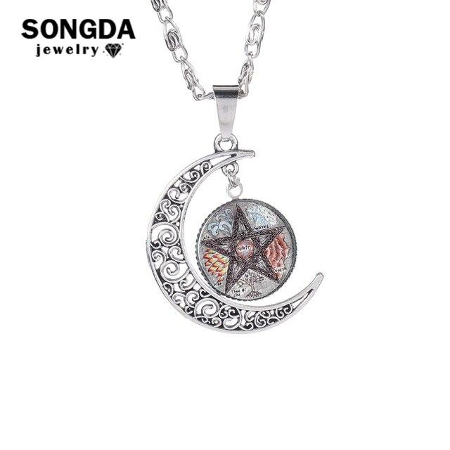 Songda Mysterious Dark Magic Pentagram Necklace Satanism Symbol