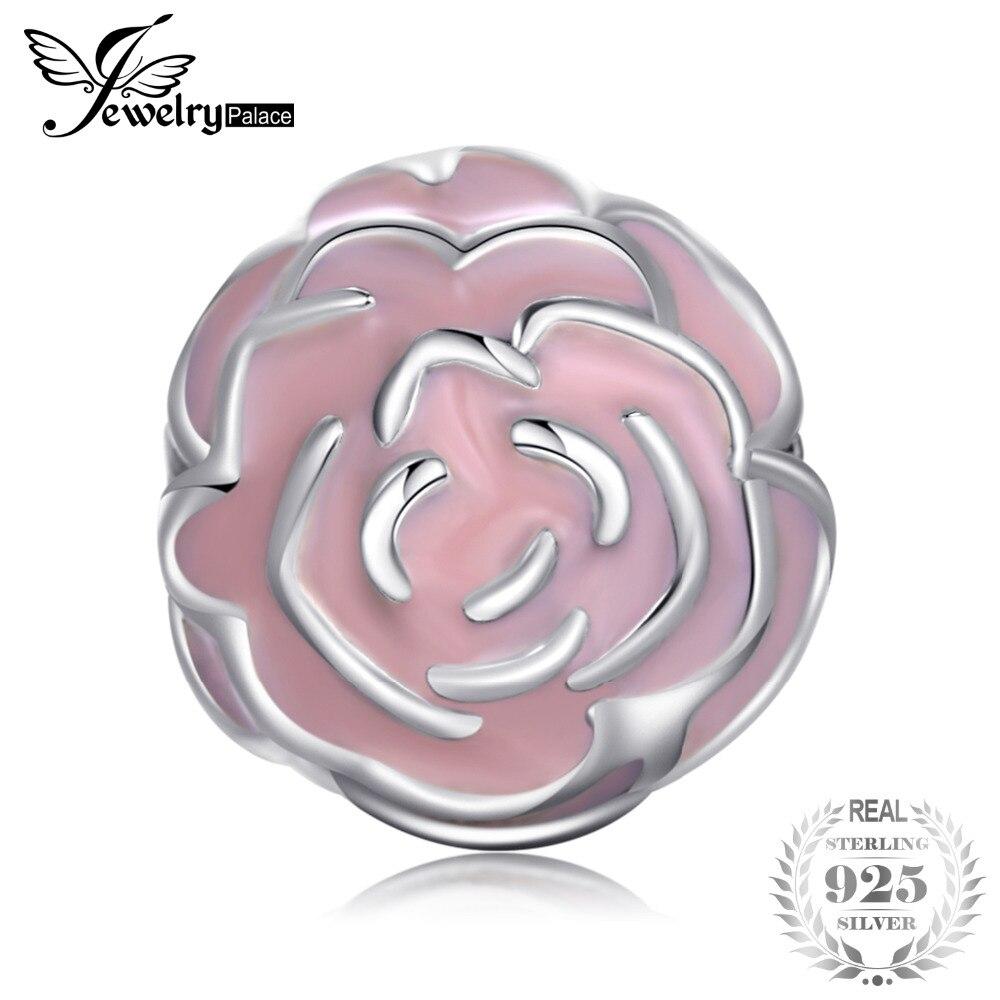 Jewelrypalace 925 пробы серебро начале полового созревания цветы розовый эмаль подвески-шармы браслеты-Подарки для Для женщин Модные украшения