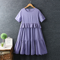 Heavy duty embroidery ruffles patchwork o neck short sleeve cotton dress summer woman