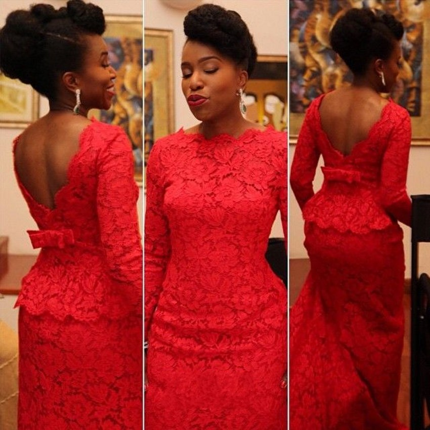 Designer African Evening Wear Mermaid Lace Long Sleeves Liques Boat Neckline Dress Knot Bow Red Women Party Dresses In From