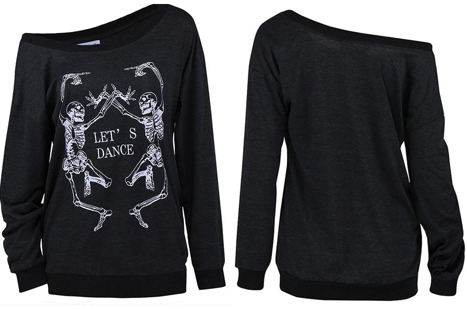 HTB13.u6RFXXXXXMXpXXq6xXFXXXZ - Skeleton T Shirt Women Sexy Off The Shoulder Tops T-shirt
