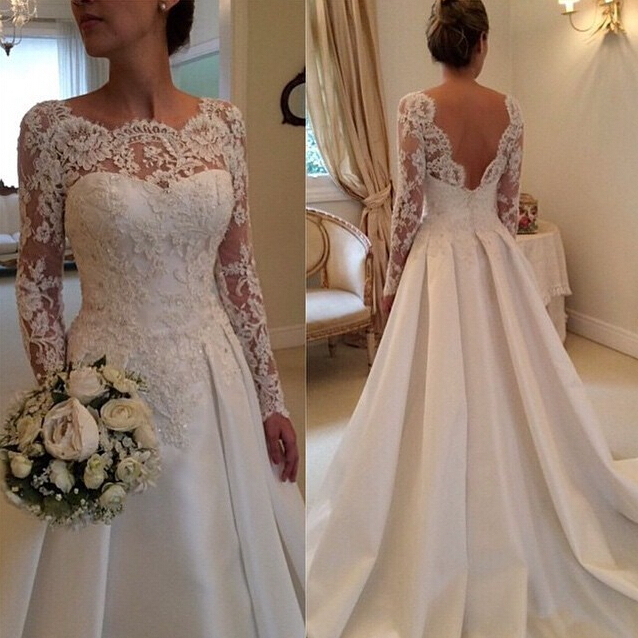 2018 Winter Long Sleeve Beaded Lace Satin A-Line Backless Bridal Gown Custom Vestido De Noiva Mother Of The Bride Dresses