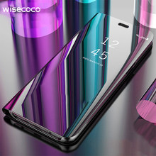 Luxury View Flip Stand Phone Case untuk Samsung Galaxy S10 E S9 S8 Plus S10plus S6 S7 Edge S6Edge Catatan 5 8 9 Ponsel Cermin Penutup(China)