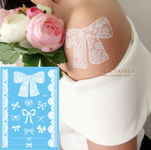 1pc White Lace Design Bowknot Temporary Tattoo Waterproof Transferable Fake Flash Tatoo Sticker Body Art Women Jewelry J020
