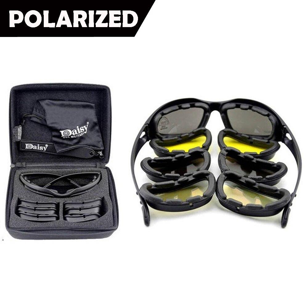 New Daisy C5 Polarized Army Goggles, Military Sunglasses 4 Lens Kit, Men s  War Game 17edc738f054