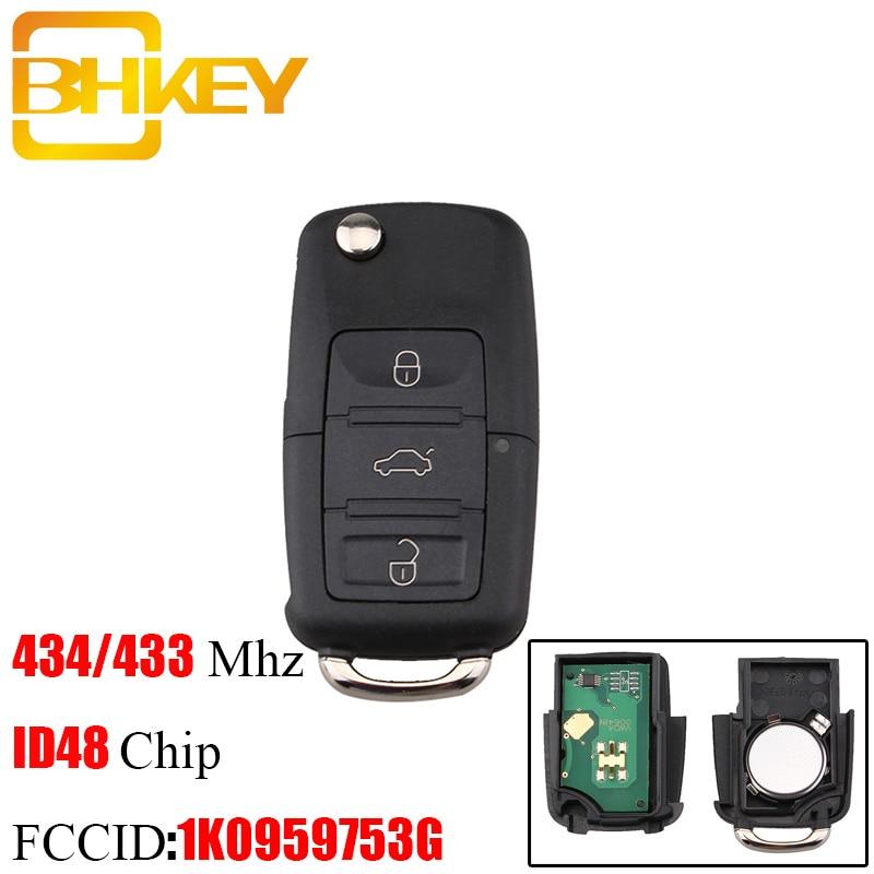 BHKEY Remote-Key Id48-Chip JETTA Tiguan 1K0959753G GOLF VW Passat B5 Skoda VOLKSWAGEN