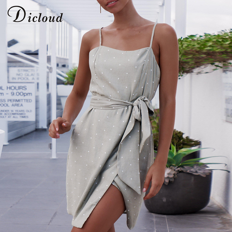 DICLOUD Casual Backless Polka Dot Summer Dresses Women Spaghetti Strap Mini Bodycon Irregular Streetwear Beach Party Wrap Dress
