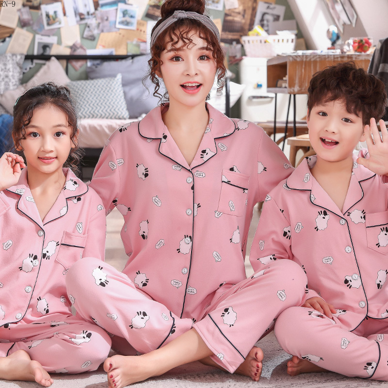 Boys Pajamas 2019 Spring Cotton Family Matching Outfits Mommy And Daughter Pijamas Suit Casual Baby Girls Sleepwear