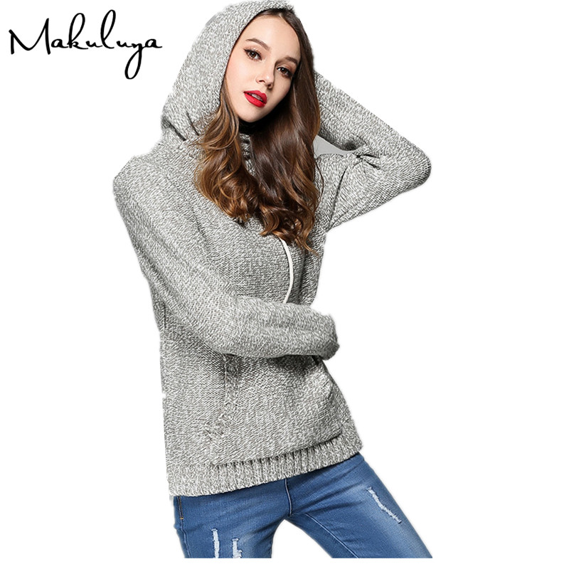 Makuluya 2017 New Arrival Long Sleeve Knitted Fabric Women Hoodies Soft Keep Long Sleeve Pullovers Loose Casual Lady Hoodies QW