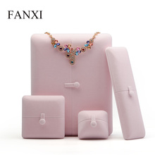 FANXI  Pink Velvet Jewelry Gift Box Engagement Ring Pendant Necklace Bangle Chain Display Storage Packaging Box Wedding Showcase