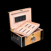 High Quality Glossy Piano Finish Wood Cigar Humidor Cabinet Large Capacity Storage Box W/ Lock Hygrometer Humidifier