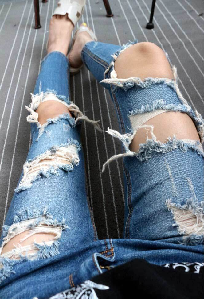 Sexy big holes ripped jeans tassels skinny high waisted pencil pants women trousers blue plus size womans feminino WB16008
