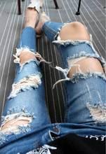 Сексуальные большие отверстия рваные джинсы кистями тощий высокой талией брюки карандаш женщины брюки синий размер плюс женщины feminino WB16008