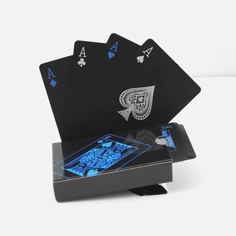 Kostenloser Versand wasserdichte Kunststoff PVC Spielkarten Set Pure Black Poker Kartensätze klassischen Brettspielkarten