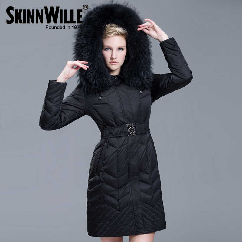 Skinnwille2017ファッション肥厚大毛皮の襟ダウンコート女性ミディアム·ロング冬の新しい到着女性冬コートとジャケット