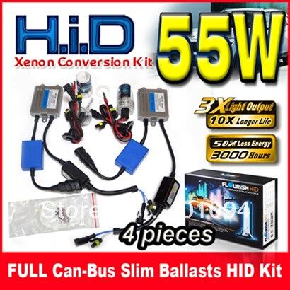ФОТО 4 Sets 12V 55W FULL Can-bus Ultra Slim Ballasts HID Xenon Conversion Kits Silver Single Beam H1 H3 H4 H7 H8 9004 9005 9006 9007