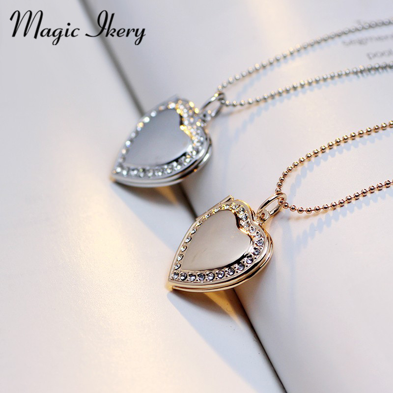 Magic Ikery Fotominne flytande lås Halsband Rose Gold Color Heart Flash Box mode halsband för kvinnor 2016 MKA63