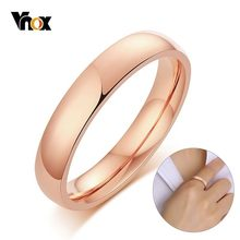 Vnox Classic 4mm Rings for Women Men Glossy Stainless Steel in 585 Rose Gold Tone Plain Wedding Band 5#-10#(China)