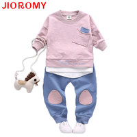 JIOROMY Boys Clothing Set Long Sleeve T Shirt Pants 2pieces Suits Cotton Pocket Letter Stitching Tops
