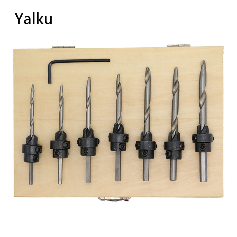 Yalku Tiwst Drill Bit Set Wrench Woodworking Countersink Drill Bit Mini Spanner Metal Drilling Power Tool Set Tool Kit 5/8pcs 46pcs socket set 1 4 drive ratchet wrench spanner multifunctional combination household tool kit car repair tools set