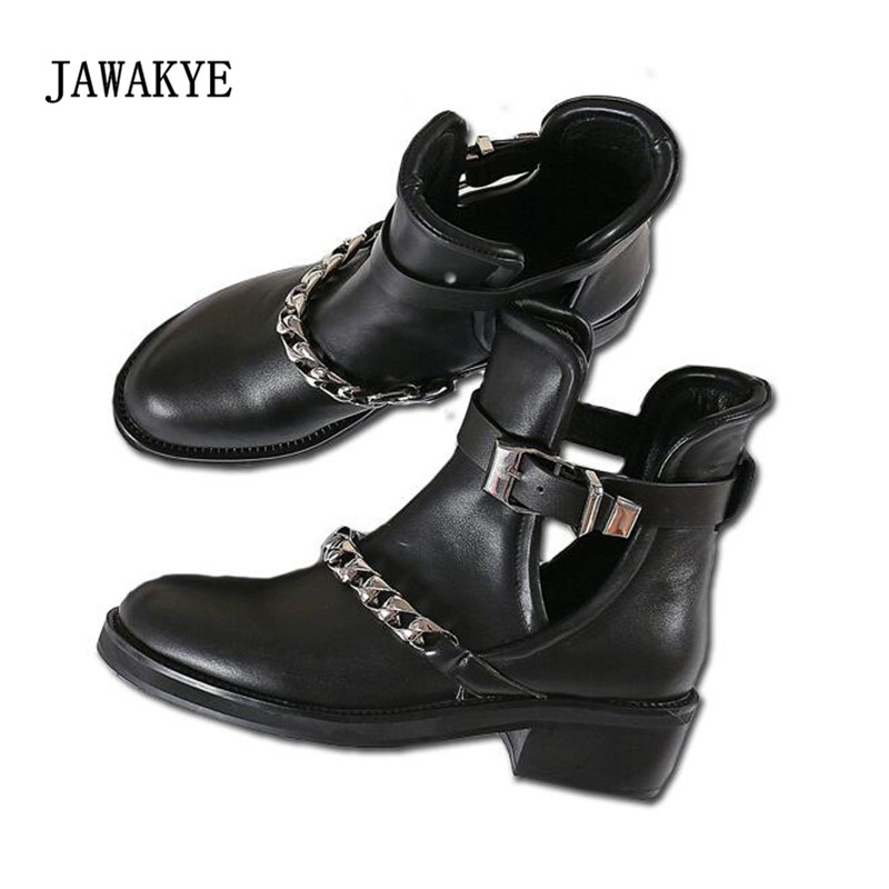 2017 New Silver Chain Martin Boots Women Round Toe Black Real Leather Cut-out Buckle Motorcycle Boots Woman Fashion Ankle Boots new fashion black pu leather lace up martin boot woman round toe riding boots designer chain motorcycle short booty
