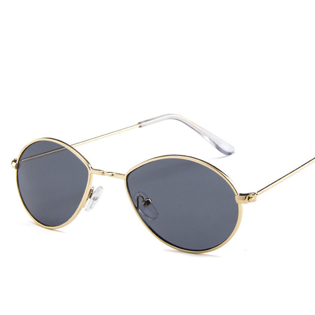 small oval sunglasses women retro red eyewear vintage glasses gold metal frame mirror points vintage round  sun glasses female