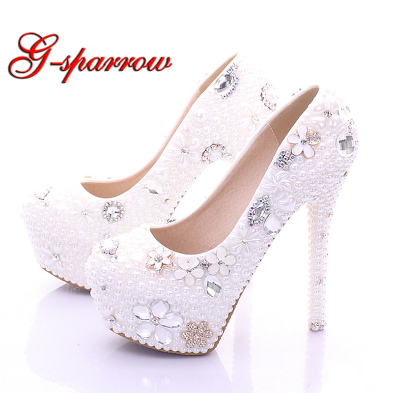 f3b277a0f81e Aliexpress.com   Buy Plus Size Bridal Shoes White Womens Shoes on Sale 2018  Fashion Luxurious Pearls Crystals Wedding Party Prom High Heel Shoes from  ...