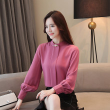 S-3XL New Office Womens Chiffon Shirt Spring 2019 Fashion All-match Elegant Loose Shirts Diamonds Pleated Slim Tops Female