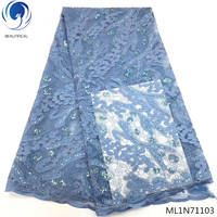BEAUTIFICAL african blue lace fabric nigerian lace african lace fabric with sequins for clothing online ML1N711