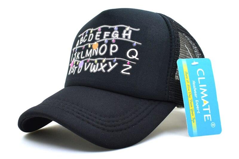 f868882a9b0 CLIMATE Stranger Things Dustin Caps Hat Summer Cool Black Mesh ...