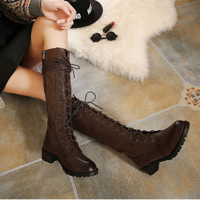 WENDYWU winter PU leather shoes girls knee high boots fur children boots  baby fringe boots kids lace up thigh high boot 423b8081351a