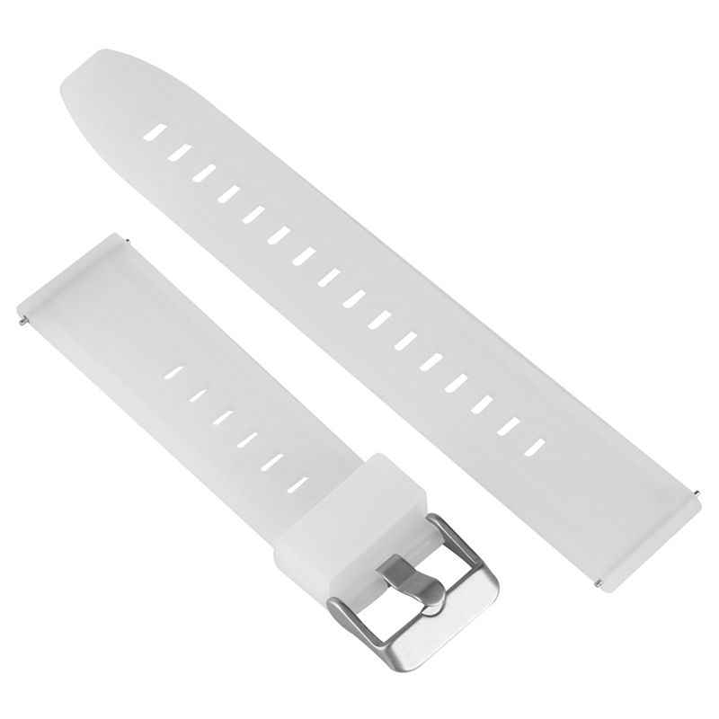 Waterproof Silicone Watch Strap 18mm 20mm 22mm 24mm White Waterproof Wristwatch Band Stainless Steel Pin Buckle Women