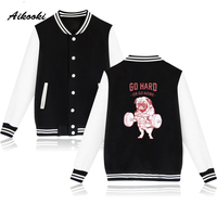 Hot O-Neck Jacket Mens Funny Dog Autumn Baseball Jacket Women Men College Print Go Hard or Go Home Baseball Jackets