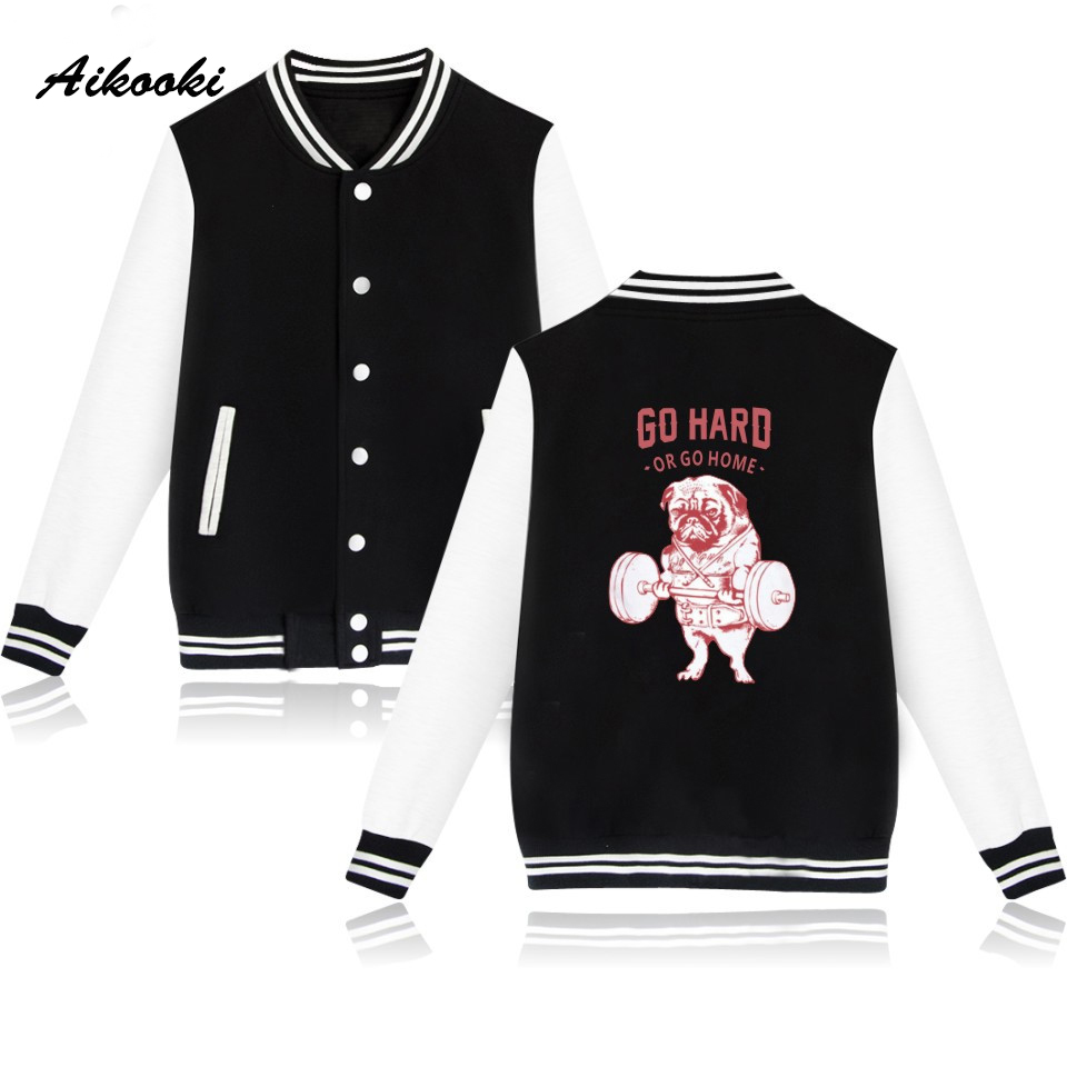 Hot O-Neck Jacket Mens Funny Dog Autumn Baseball Jacket Women Men College Print Go Hard or Go Home Baseball Jackets