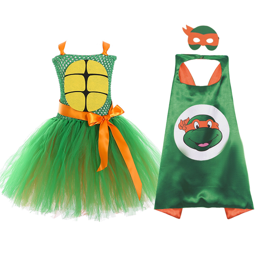Ninja Birthday Tutu Dress With Cape Mask Kids Girls Teenage Mutant Turtles Mikey Cosplay Costume For Halloween Clothes Bodysuit