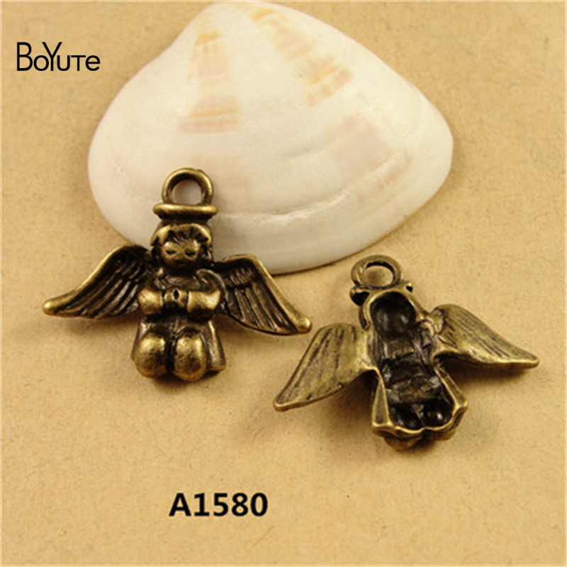 BoYuTe (60 Pieces/lot) 26*21MM Zinc Alloy Angel Charms Antique Bronze Plated Metal Pendant Charms for Jewelry Accessores Diy