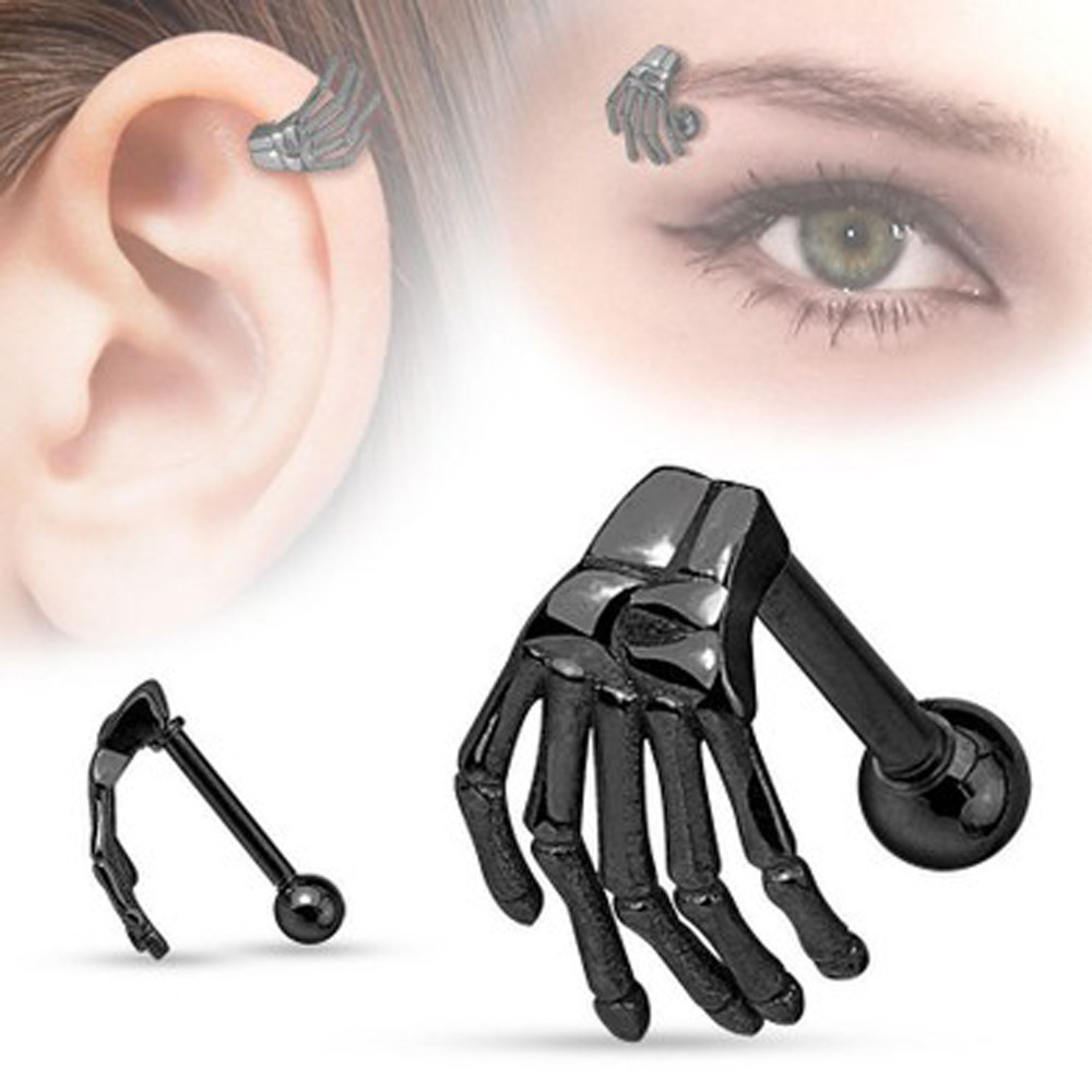 1pcs Surgical Stainless Steel Stud Earrings Skeleton Ghost Hand Shape Ear Tragus Piercing Fake Taper For Men Women Body Jewelry