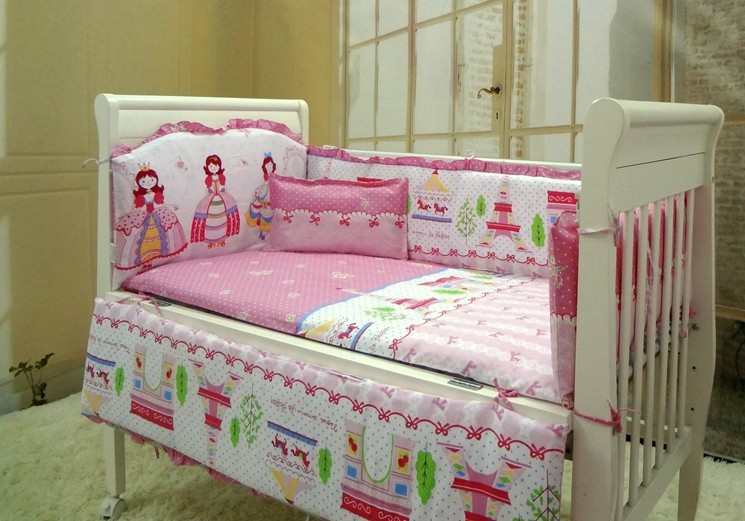 ФОТО Promotion! 6PCS baby bedding set crib for babies bed linen (bumpers+sheet+pillow cover)