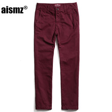 Aismz 2017 Casual Pants Men Brand clothing High quality Slim Straight Male Pants 100% Pure Cotton Man Trousers Plus Size 3267