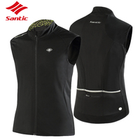 Santic Tour De France Cycling Jersey Black Sleeveless Cycling Vest Autumn Winter Windproof Warm Bike Bicycle