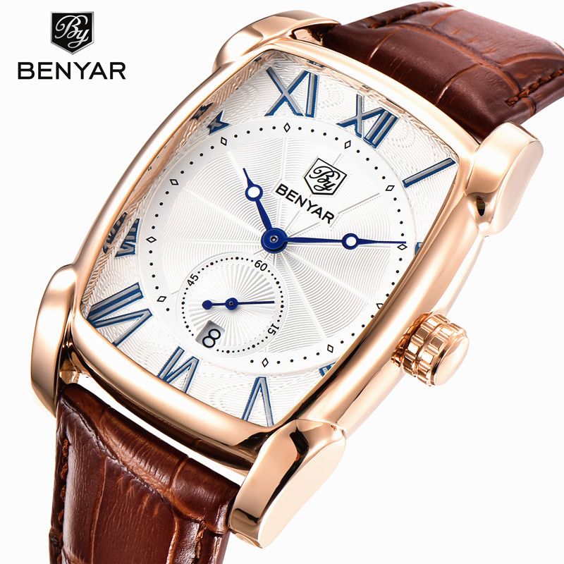Men Watches Top Luxury Brand Benyar Square Quartz Watch Men Leather Strap Clock Male Waterproof Casual Date Sport Wristwatch цена