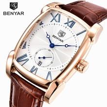 Men Watches Top Luxury Brand Benyar Square Quartz Watch Leather Strap Clock Male Waterproof Casual Date Sport Wristwatch